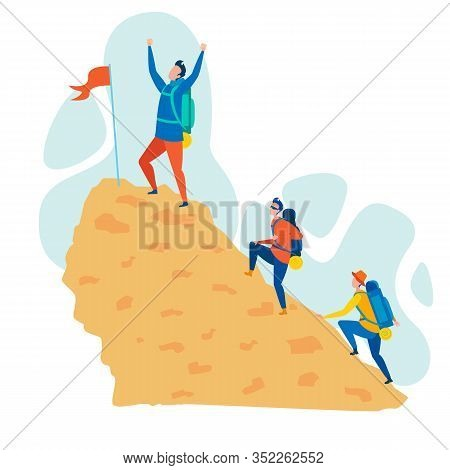 Mountaineering Hobby Flat Vector Illustration. Happy Climber Cartoon Character Standing On Mountain