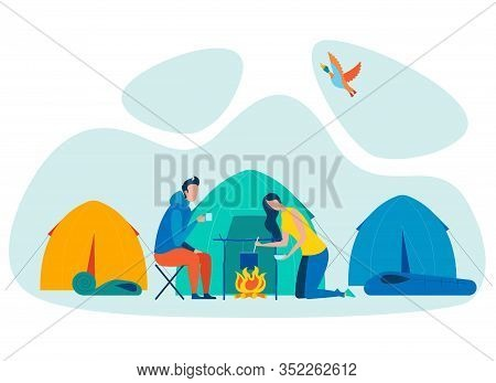 Couple Camping Vacation Flat Vector Illustration. Woman Cooking Food On Fire Faceless Character. Man