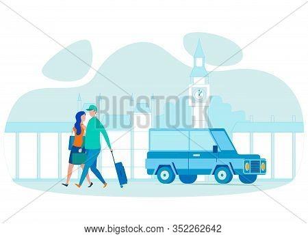 Couple Abroad Travel Flat Vector Illustration. Honeymoon In Uk, European City Sightseeing Tour. Euro
