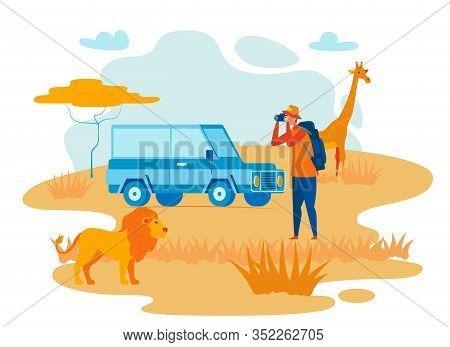 Wild Africa Exploration Flat Vector Illustration. African Safari, Road Trip, Expedition. Explorer Ph