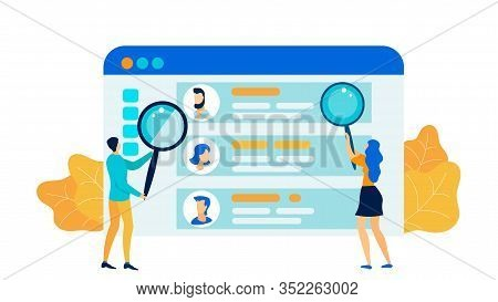 Private Life Intrusion Flat Vector Illustration. Man And Woman With Magnifying Glasses Cartoon Chara