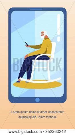 Advertising Flyer With Old Man Has Video Talk Sitting In Rocking Chair. Vector Mobile Screen With Pe