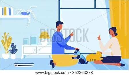 Cartoon Man And Woman Playing With Alive Or Artificial Cat. People Characters Talking, Disputing Abo