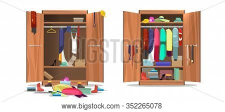 Wardrobe Before And After Organization. Woman Clothings And Shoes In Mess And Tidy Organizing, Openi