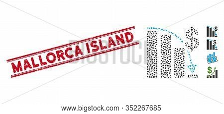 Grunge Red Stamp Watermark With Mallorca Island Phrase Between Double Parallel Lines, And Mosaic Epi