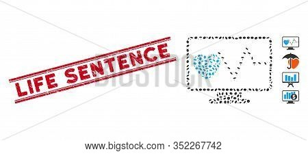 Grunge Red Stamp Seal With Life Sentence Phrase Inside Double Parallel Lines, And Collage Cardio Mon