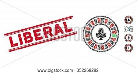 Grunge Red Stamp Watermark With Liberal Caption Between Double Parallel Lines, And Mosaic Casino Rou