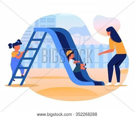 Kids With Mom On Slide Flat Vector Illustration. Little Girl, Boy And Young Woman Cartoon Characters