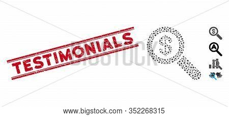 Distressed Red Stamp Seal With Testimonials Text Inside Double Parallel Lines, And Mosaic Financial