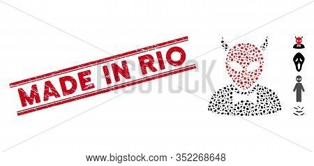 Distressed Red Stamp Seal With Made In Rio Phrase Between Double Parallel Lines, And Mosaic Devil Ic