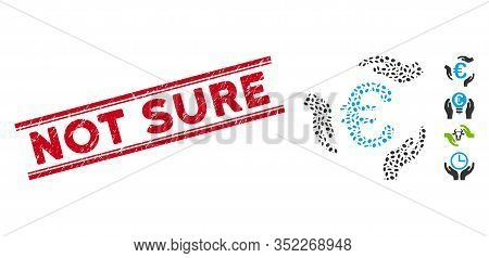 Rubber Red Stamp Watermark With Not Sure Caption Between Double Parallel Lines, And Mosaic Euro Care