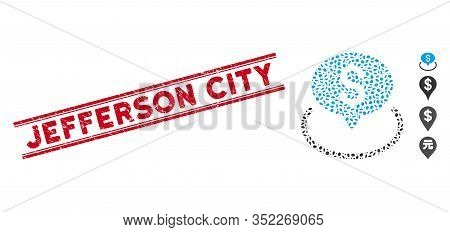Rubber Red Stamp Seal With Jefferson City Text Between Double Parallel Lines, And Mosaic Bank Locati