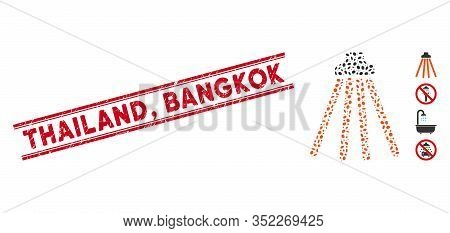 Corroded Red Stamp Seal With Thailand, Bangkok Phrase Between Double Parallel Lines, And Mosaic Show