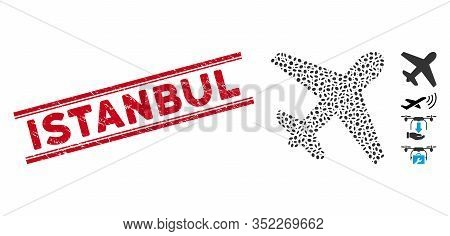 Grunge Red Stamp Seal With Istanbul Phrase Inside Double Parallel Lines, And Mosaic Airplane Icon. M