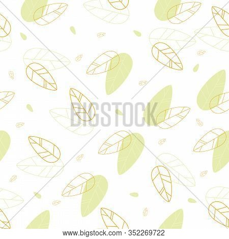 Background Screensaver. Decoupage Paper With Leaves. Vector Illustration. Green And Brown Leaves Fro