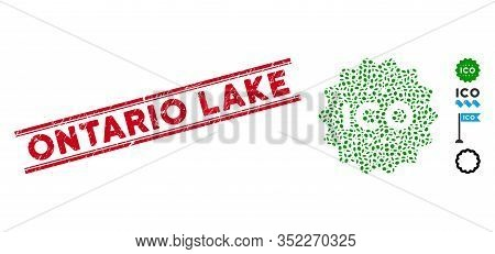 Rubber Red Stamp Watermark With Ontario Lake Phrase Inside Double Parallel Lines, And Collage Ico To