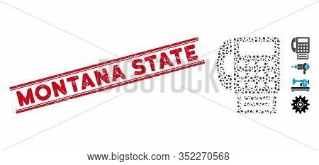 Grunge Red Stamp Seal With Montana State Text Inside Double Parallel Lines, And Mosaic Fax Machine I