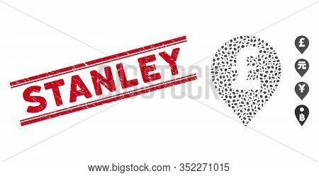 Distressed Red Stamp Watermark With Stanley Text Inside Double Parallel Lines, And Mosaic Pound Ster