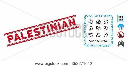 Grunge Red Stamp Seal With Palestinian Phrase Between Double Parallel Lines, And Mosaic Keypad Icon.