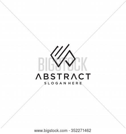 Monogram Letter W P Logo With Thin Black Monogram Outline Contour. Modern Trendy Letter W P Design V