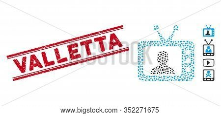 Rubber Red Stamp Seal With Valletta Caption Between Double Parallel Lines, And Mosaic Tv Speaker Ico
