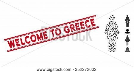 Corroded Red Stamp Seal With Welcome To Greece Phrase Between Double Parallel Lines, And Mosaic Wc W
