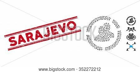 Grunge Red Stamp Seal With Sarajevo Caption Between Double Parallel Lines, And Mosaic People Diagram