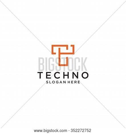 Monogram Letter T Logo With Thin Black Monogram Outline Contour. Modern Trendy Letter T Logo Design