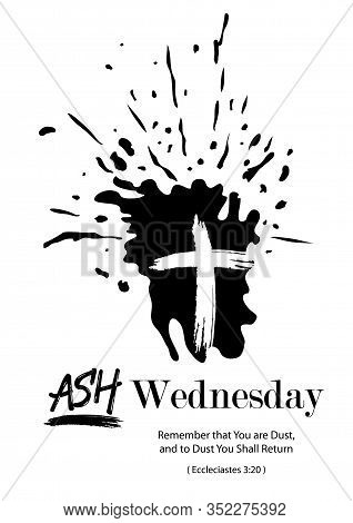 Illustration Of Ash In Ash Wednesday With The Symbol Of The Cross