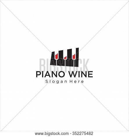 Piano Wine Logo Design Stock Illustration . Music Piano Logo . Piano Concert Logo Design. Live Music