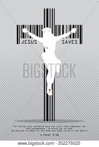 Illustration Of A Cross In The Form Of A Barcode With Jesus Crucified