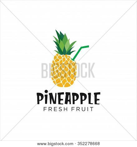 Pineapple Logo Design . Pineapple Fruit Logo . Fresh Pineapple Juice Logo Natural . Pineapple Drink