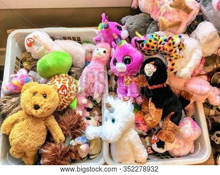 Golden, Canada - February 20th, 2020: A Basket Full Of The Popular Ty Stuffed Toy That Are Sold All