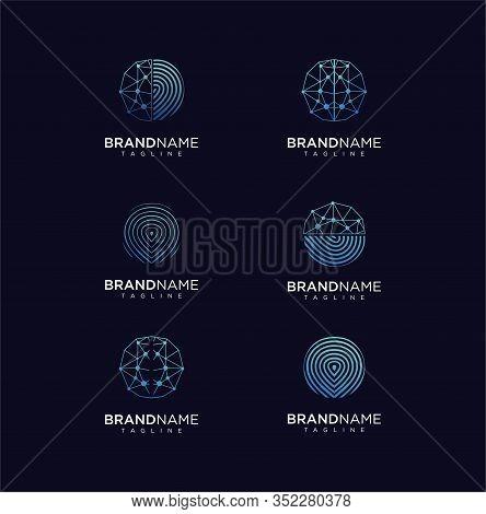Set Of Modern Abstract Circle Technology Logo Template,technology Logo Simple Tech Design. Vector Cr