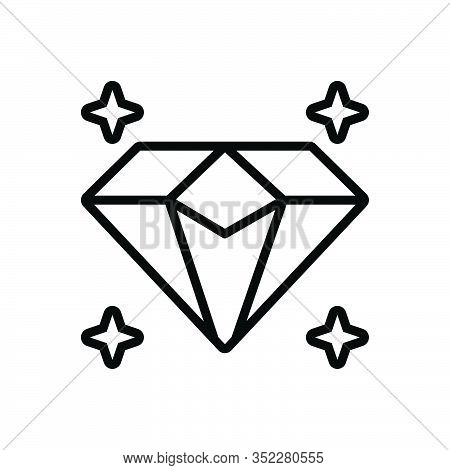 Black Line Icon For Diamond Sparkler Shiner Luxury Precious Jewel Gem Rhinestone Pawnshop Ornament A
