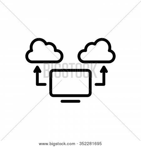 Black Line Icon For Computing-cloud Computing Cloud Computing-cloud Computing Cloud Communication Co