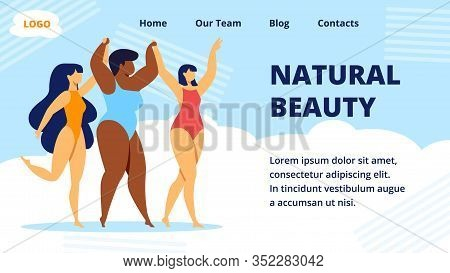 Natural Beauty Horizontal Banner. Multiracial Women Of Different Height, Figure Type And Size Dresse