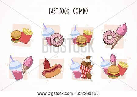 Fast Food Combo. Set Of Colorful Cartoon Fast Food. Vector Color Sketch Of Fast Food.