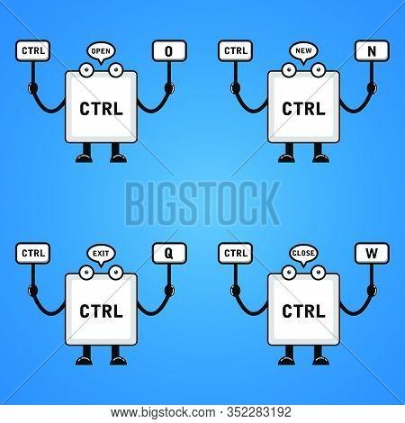 Illustration Vector Graphic Of Cartoon Keyboard Button,control O, Control N, Control Q , Control W .