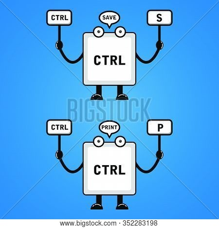 Illustration Vector Graphic Of Cartoon Keyboard Button,control S,control P. Good For T-shirt Design,