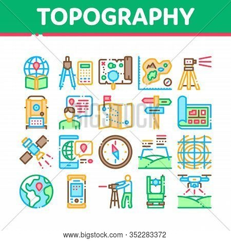 Topography Research Collection Icons Set Vector. Topography Equipment And Device, Compass And Calcul