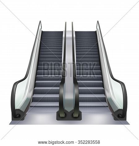 Escalator Two Way Direction Electric Device Vector. Speed Stairway Escalator Subway Tool For Transpo