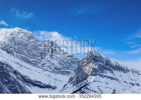 Close Up Of The East Facing Mountain Range Of Mount Rundle In The Canadian Rockies Of Canmore, Alber