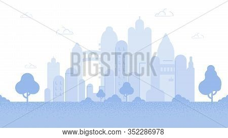 City Background Flat Cartoon Vector Illustration. Modern Town Skyline. Architectural Building In Pan