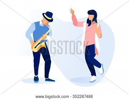 Musician Man Character Playing Saxophone, Woman Dancing Isolated On White Background. Young Instrume