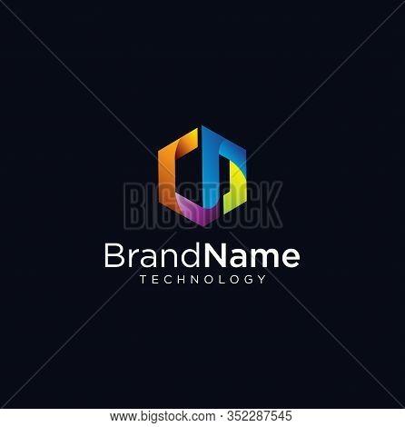 Letter N Hexagon Tech Logo . Abstract Pixel Hexagon Logo Letter N Colorfull Design Illustration . He