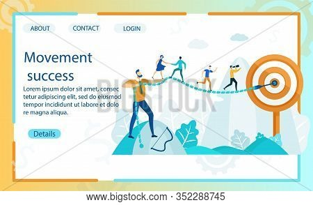 Bright Banner Inscription Movement Success Flat. Delegation At Each Stage Workflow And In Each Work