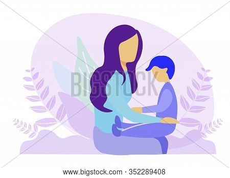 Faceless Mother Sitting With Son And Holding Boy, Adorable Toddler On Knees. Plants Foliage Design V