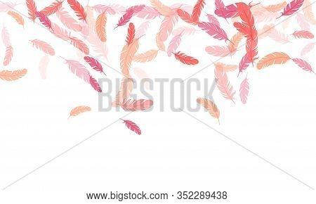 Simple Pink Flamingo Feathers Vector Background. Easy Plumelet Ethnic Indian Graphics. Wildlife Natu