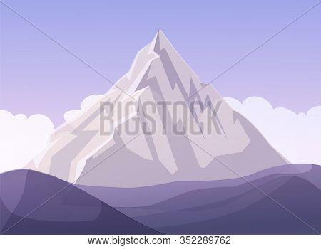 Flat Design Mountain Business Metaphor Cartoon. Rock Surrounded White Clouds. Natural Vector Highlan